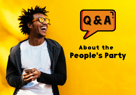 Photo of laughing black man with text: Q & A about the People's Party